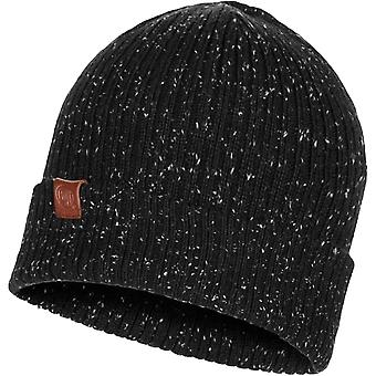 Buff Unisex Kort Fine Knit Knitted Winter Warm Roll Up Beanie Hat - Black