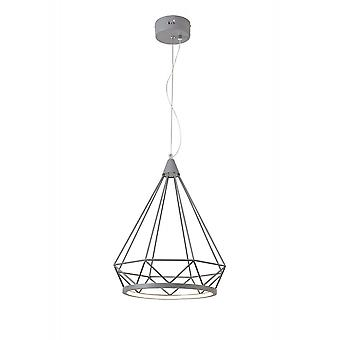 Russel Large Diamond Pendant, 10w Led, 3700k, Matt Grey, 3yrs Warranty