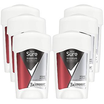 Sure Men Maximum Protection Sport Active Anti-Perspirant Deodorant, 6 Pack, 45ml