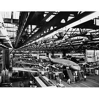 Interiors of an airplane factory Lockheed Constellation Lockheed Corporation Burbank California USA Poster Print