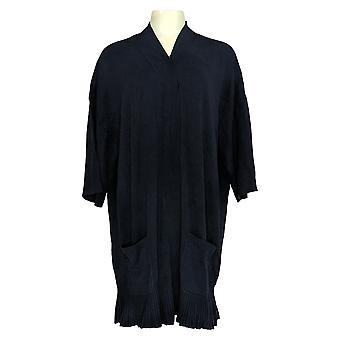 Isaac Mizrahi Live! Damen's Plus Top 3/4 Ärmel Flutter Saum blau A376845