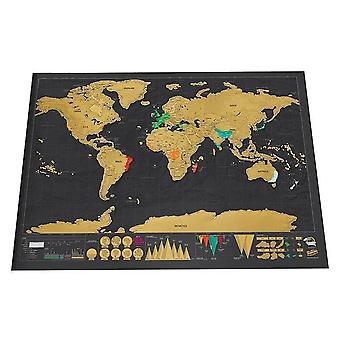Deluxe Erase World Travel Map, Scratch Off World Map - Decoration Wall Stickers