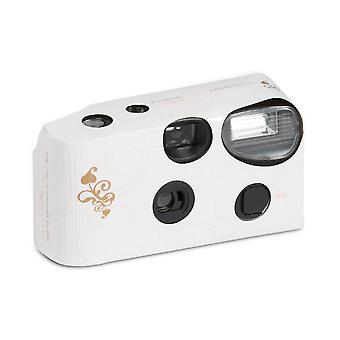 Paquete de cámara desechable de 10 con flash blanco con diseño de remolino de corazón de oro