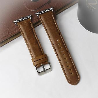 """עבור &עבור Apple Watch סדרה 5 4 40 מ""""מ / 3 &; &2 1 38mm עגול זנב רטרו מטורף סוס מרקם עור אמיתי החלפת רצועה רצועת (חום בהיר)"""