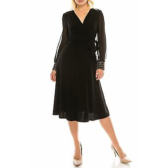 A-line Faux Wrap Dress With Beaded Cuffs