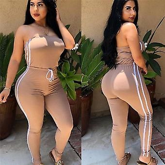Summer Women Off Shoulder Jumpsuits Fashion New Brand Ladies Lace Up Solid
