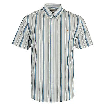 Farah Robertson Stripe Organic Cotton Short Sleeve Shirt- Ecru