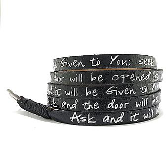 Bible Verse Wrap Around â € « Matthew 7:7 â € « Metallic Black