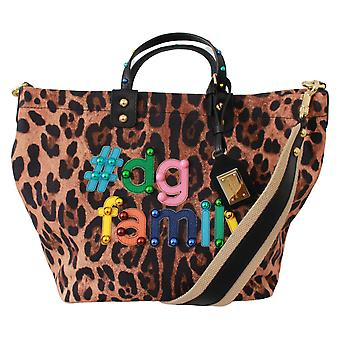 Brown Leopard #dgfamily Patch Studs Shopping Tote Bag