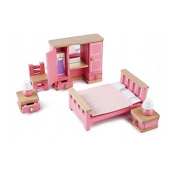 Tidlo boneca de madeira'conjunto de móveis de quarto da casa