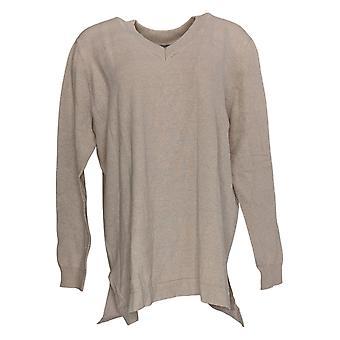 Martha Stewart Mujeres's Suéter de manga larga V-cuello lateral aberturas beige A307714
