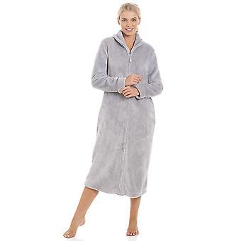 Camille Womens Ex Marks & Spencers Grey Fleece Housecoat