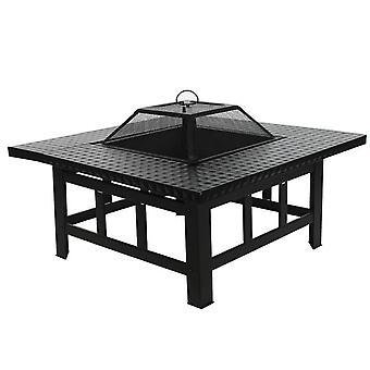 4 in 1 Fire Pit Table Top BBQ Grill & Ice Cooler Garden Terrasverwarmer Houtkachel