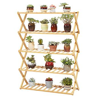 Folding Shoe Rack Bamboo Wooden Shelf Stand Storage Organizer Plant Pots Display