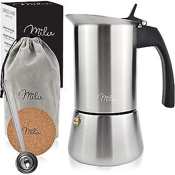 Gerui Espresso Maker Induction Hob | 2, 4, 6 Cup| Stainless Steel Espresso Pot, Stovetop Moka Pot,