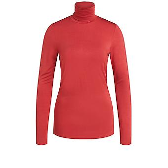 Oui Red Jersey Polo Neck Top