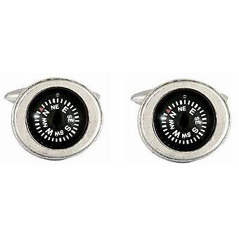 Zennor Moving Compass Cufflinks - Black/Silver