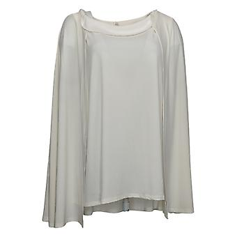 IMAN Global Chic Women's Plus Top Caped Shell Ivory 722613