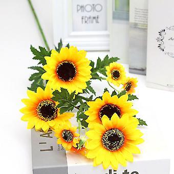 5pcs flor artificial girasol girasol celebración de la boda decoración flor seca falsa flor