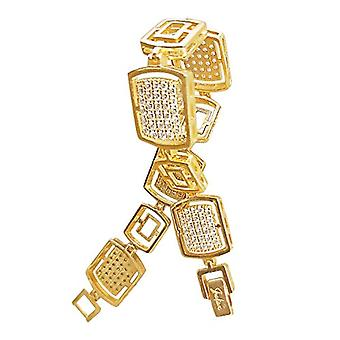 Shaliax Women's bracelet in 18 carats gold, with zircons and golden stones, length 18 cm, weight 20.7 g