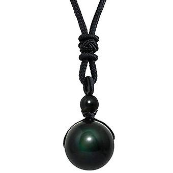 KYEYGWO - Necklace with pendant in the shape of a natural stone ball, adjustable, for men and women, color: #1 obsidian Ref. 0715444083280