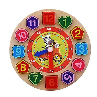 Montessori tegneserie dyr pedagogisk tre beaded geometri klokke puslespill for barn 5+