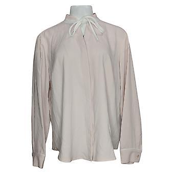 Elizabeth & Clarke Women's Top Button-Front Tie Collar Pink