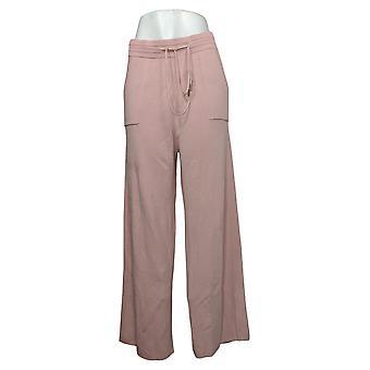 Rhonda Shear Women's Pants Large Luxe Knit Wide-Leg Lounge Pink 742963