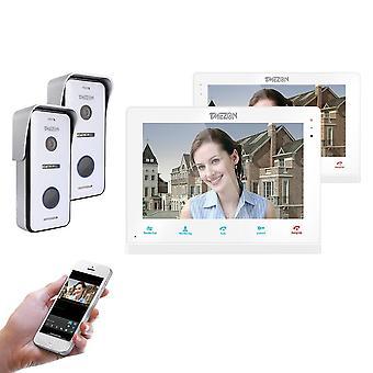 Wireless Wifi Smart Ip Video Doorbell Intercom System,10 Inch+7 Inch Screen