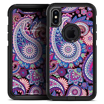 Élénk lila Paisley V5 - Bőr készlet az iphone vidratartókhoz