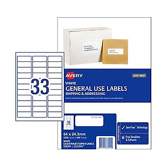 Avery General Label L7157Gu 33Up Box Of 100