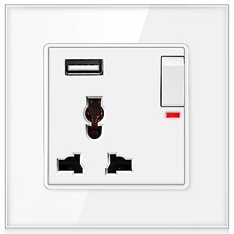 13a Universal 3 Hole Glass Panel Power Switched Socket With Usb