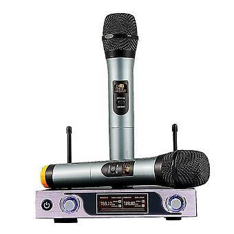 VHF handhållen trådlös mikrofonmottagare med dubbla kanaler med justerbar volymkontroll två cor