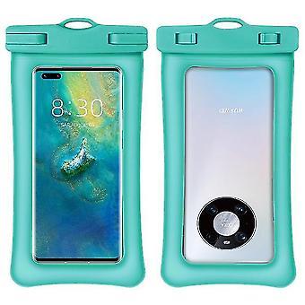 Caixa impermeável, bolsa de pvc transparente impermeável saco seco para natação (azul macaron)