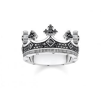 Thomas Sabo Sterling Silver Thomas Sabo Rebel yrityksessä Heart Kingdom kruunu sormus TR2208-643-11