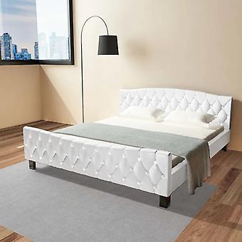 سرير vidaXL مع فراش أبيض جلد اصطناعي 180×200 سم