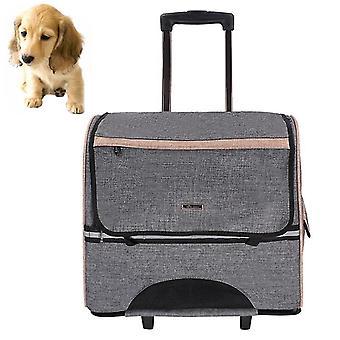 DODOPET Multi-function Outdoor Portable Two Wheels Cat Dog Pet Carrier Bag Knapsack Draw Bar Box