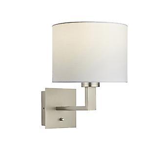 vegg lampe matt nikkel plate, vintage hvitt stoff rund nyanse med usb-kontakt