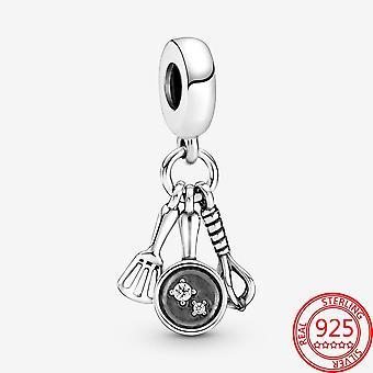 925 Sterling Silver Vařiče, Špachtle, Pánev & Whisk Dangle Charm Náramek DIY šperky