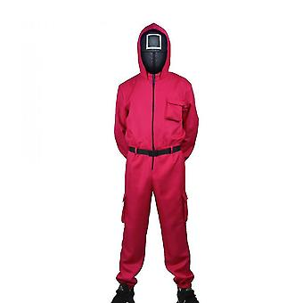 Adult Child Halloween Squid Game Cosplay Jumpsuit Cosplay Costume Set
