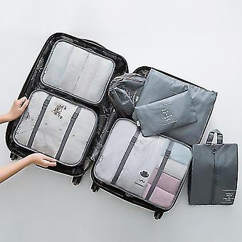 Packing organizers 7 piece set of luggage packing travel organizer cubes and pouches gray