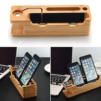 Dock de carregamento para iphone & Apple Watch, suporte de carregamento de madeira de bambu