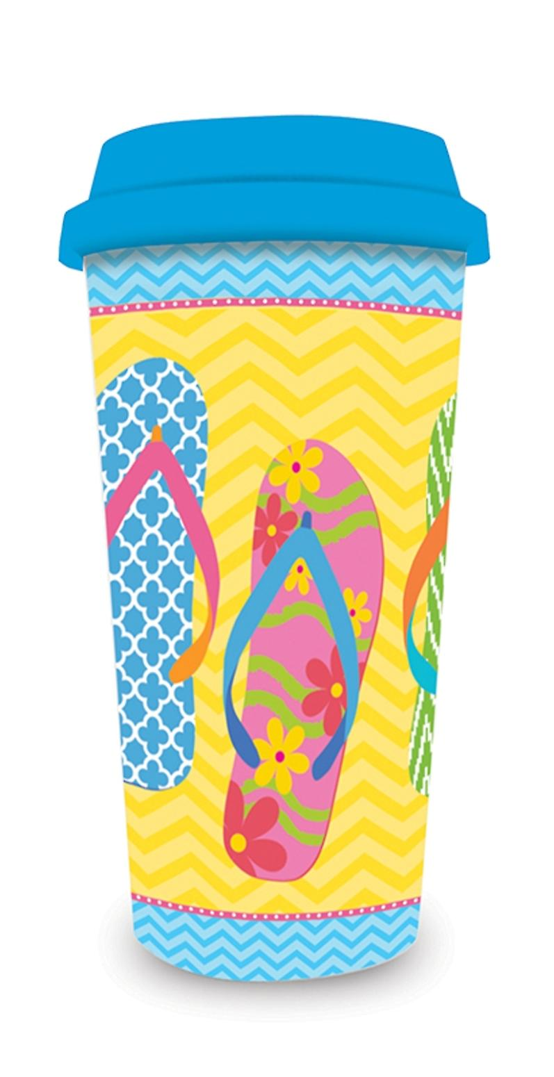Flip Flop Parade Yellow 16 Ounce Coffee Latte Travel Mug and Lid