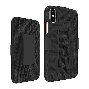 KuKu mobiele Rubberized Shell geval Holster voor iPhone X, XS (zwart)