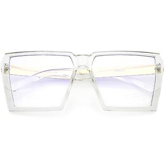 Oversize Modern Chunky Square Eyeglasses Flat Clear Lens 60mm