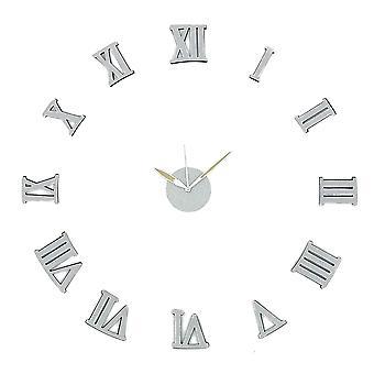 Modern Home Self Adhesive DIY 3D Wall Clock - Silver Sparkle Roman Numeral
