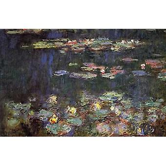 Water Lilies Green Reflections Poster Print by Claude Monet