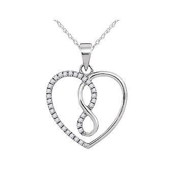 Infinite Love Diamond Pendant Necklace 1/10 Carat (ctw) 10K White Gold with Chain