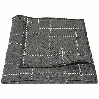 Heritage kontrollera Charcoal Grey Pocket Square, Tweed, näsduk