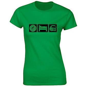 Äta sova för lastbilstransporter Womens T-Shirt 8 färger (8-20) genom swagwear